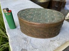 Antique Folk Art Woven Verdigris Brass Splint Covered Trinket Box, 19th Century