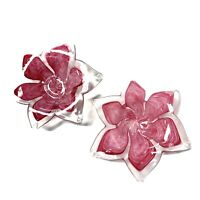 Pair Murano Glass Pink White Clear Flower Petal Bowl Dish VTG 1990's Mouth Blown