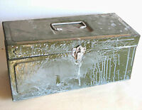 Vintage Metal TOOLBOX Climax GREEN Mechanic HANDYMAN Tool Box Measure FREE SH