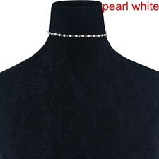 Simple Crystal Pearl Beads Choker Necklace Collar Chain Women Wedding Jewelry zt