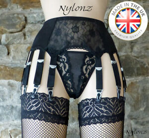 14 Strap Luxury Lace Front Suspender Belt Black (Garter Belt) NYLONZ Made In UK