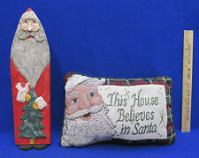"""Christmas Pillow """" This House Believes In Santa """" St Nick Wood Figurine Decor"""