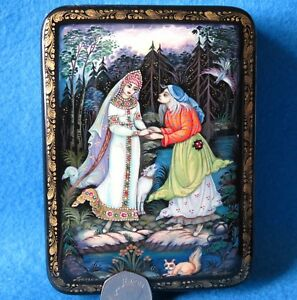 Russian LACQUER Box Genuine Fairy tale Alyonushka & her brother Ivanushka KHOLUI