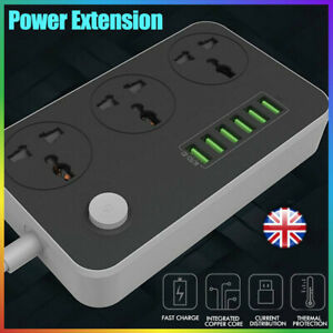 Socket Power With USB 6 Plug 3 Gang USB Port Switch Extension Lead Cable Y