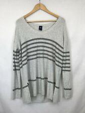 GAP ladies jumper long sleeve round neck grey stripes wool mix size L 003