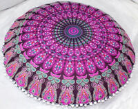 New 82Cm Indian Peacock Mandala Floor Pillow Meditation Round Cushion Cover
