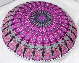 New 82Cm Indian Peacock Mandala Floor Pillow Meditation Round Cushion Cover