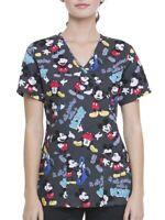 NWT Disney 90 Years of Mickey Mouse Mock Wrap Scrub Top Uniform Nurse Vet Dental