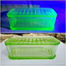 "Vintage Anchor Hocking Green Vaseline Depression Glass Refrigerator Box 8""x4""x3"""