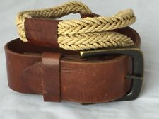 Brave Women Belt Brown Leather Natural Cotton Rope Size 26 Inches