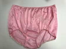 (2) Contessa Plus Nylon Brief Panties Decorative Applique Size 15 / 8X LT. PINK