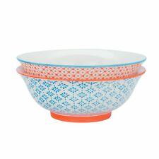 Porcelain Salad Bowl China Fruit Food Serving Tableware, Blue / Orange - 203mm