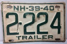 Vntg NH License Plate Trailer 1939-1940 Rare White Tag 2-224 White Collectable