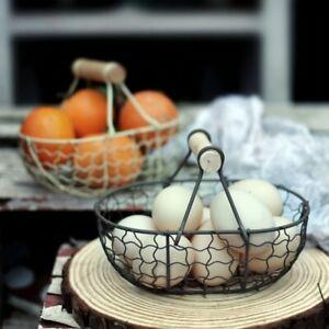 Multiple Functional Fruit Egg storage basket kitchen Wooden Handle metal Basket
