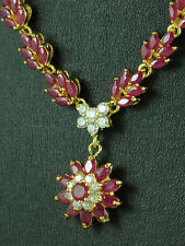 FASHION JEWELRY GEMS 14K YELLOW GOLD RED RUBY Girl lady Beauty NECKLACE S97N