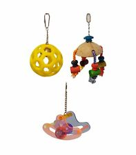BIRD Toy wood coconut acrylic parrot forage