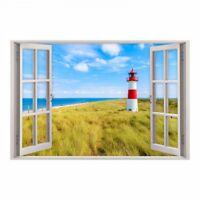 147 Wandtattoo Fenster - Leuchtturm Nordsee Maritim Meer Wandbild Wanddeko