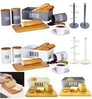 RETRO TEA COFFEE SUGAR STORAGE CANISTERS BREAD BIN KITCHEN TOWEL HOLDER MUG TREE