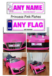 2 X PERSONALISED NUMBER PLATES KIDS RIDE ON CAR PRINCESS PINK ANY NAME ANY FLAG