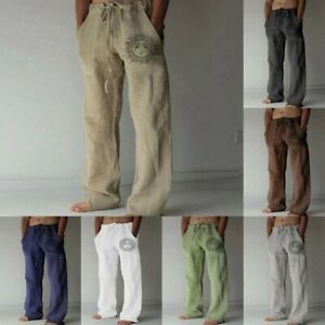 Men's new stripes pine pure color cotton and linen loose casual trousers