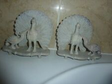 More details for mirror pair of 14.5cm high soapstone full plume male & female peacock with stand