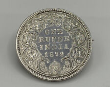 1879 Queen Victoria One Solid Silver Rupee Coin British Empire Brooch 12.1g