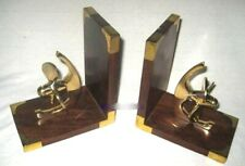 Maritime Bookends Wooden/Brass - Propeller