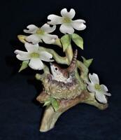 Cybis Porcelain Figurine Dogwood Branch, 4 Flowers and Wood Wren Bird Nest