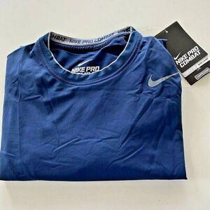 Nike Pro Combat Mens Compression Base Layer T-Shirt Blue Dri-Fit Stretch 2XL New