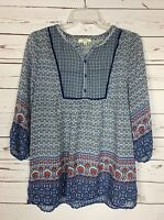 Kori America Boutique Women's S Small Navy Boho Button Tunic Top Blouse Shirt