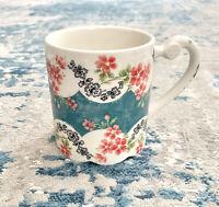 NEW Anthropologie Beautiful Scalloped Floral Ceramic Coffee Tea Mug