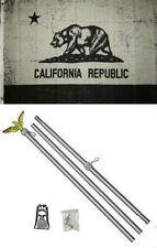 3x5 State of California Black Grey Flag Aluminum Pole Kit Set 3'x5'
