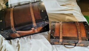 Vintage Wooden Suitcases Lot Of 2 Stacking Nesting Storage Shabby Chic EUC