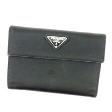 Prada Wallet Purse Trifold Black Silver Woman Authentic Used Y5710
