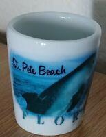 "2 1/4"" St. Pete Beach FLORIDA white Shot Glass Dolphin"