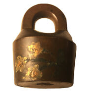 Antique Vintage Brass Flower Design Padlock, Late 1800's To Early 1900's, Rare