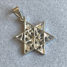 925 Silver Taxco Mexico Shiny Etched STAR of DAVID Jewish Amulet Cut Out Pendant