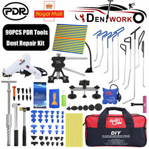 90×Paintless Hail Removal Stainless Steel Spring Dent Puller Rods PDR Lifter Kit