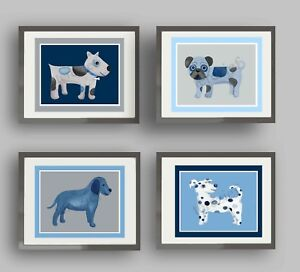Blue and Gray or Puppy Dog Art Prints for Baby Nursery or Child Bedroom
