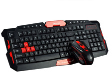 Wireless PC Multimedia Office Gaming Mechanical Keyboard Mouse Black Red Set