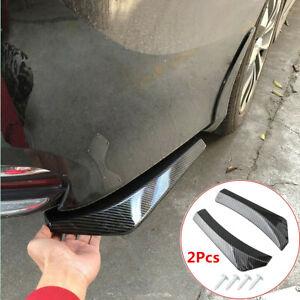 Car Rear Bumper Side Skirt Glossy Carbon Fiber ABS Spoiler Lip Splitter Diffuser