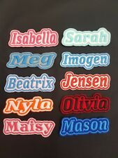 Personalised Embroidered Name Patch Badge L1 Iron on sew on