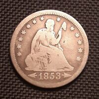 1853 P Seated Liberty Quarter, Arrows and Rays - Very Good+ VG+, Strong Reverse