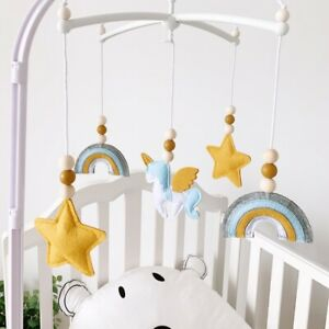 Baby Mobiles Rattles Felt Cotton Unicorn Rainbow Pendant Crib Bell Sensory Toys
