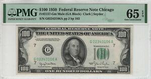1950 $100 FEDERAL RESERVE NOTE CHICAGO FR.2157-Gm MULE PMG GEM UNC 65 EPQ(106A