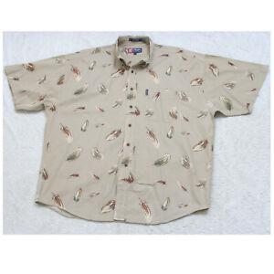 XL Ralph Lauren Chaps Short Sleeve Beige Cotton Man's Pocket Dress Shirt M29