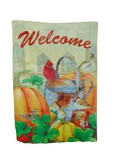 Rain Or Shine Welcome Cardinal Pumpkin Two Sided Sleeved Flag Size 28 X 40 Nwt