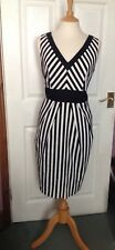 AUTOGRAPH BLACK AND CREAM STRIPE DRESS WITH POCKETS SIZE 14 WORN ONCE