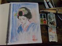 Traditionl Japanese  geisha aquarelle watercolor - painting - drawing