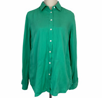 Trenery Womens Green Long Sleeve Button Up Blouse Size XS